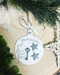 """personalised wooden bauble ,, our first Christmas in new home """" house xmas gift"""