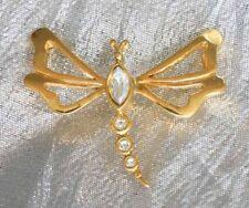 "Elegant Avon Iridescent Rhinestone Gold-tone Dragonfly Pin 1970s vintage 1 1/2"""