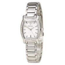 Bulova 96R135 Ladys Cuarzo Reloj De Esfera Blanca Diamante acentuados Bisel