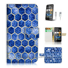( For HTC Desire 310 ) Case Cover! Blue Cell Pattern P0306