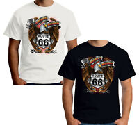 Velocitee Mens T-Shirt American Highway Eagle Biker Harley Mother Road W13037