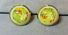 Vintage Pair of Glass Dome Horse Bridle Floral Rosettes~Brass Cased~Polished