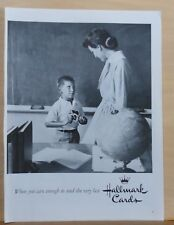 1958 magazine ad for Hallmark Cards - little boy give Valentine card to teacher