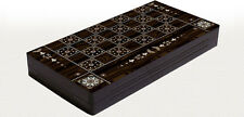 """Yenigun 19"""" Mother of Pearl Pattern Compressed Wood Checkers Backgammon Set"""