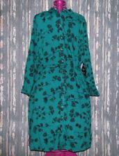 AVA & VIV  Women's Plus Size 1X Green Leaf Print Dress Belted Button Front NWT