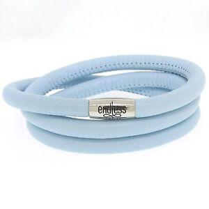 New Endless Light Blue triple Leather Bracelet Steel Lock 63cm/ 8.5inch 12111-63