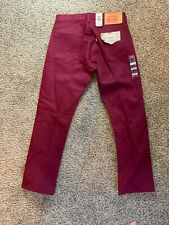 New Levi's 501 Original Fit Jeans Shrink-To-Fit Red Size W32L30