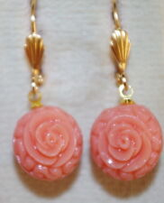 VINTAGE 14K GF ANGEL SKIN FLOWER CARVED MOLDED ROUND CORAL LEVERBACK  EARRINGS A