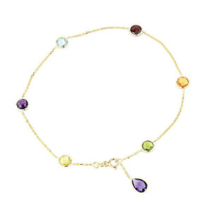 14K Yellow Gold Gemstone Anklet With An Amethyst Pear Shape Drop 9 Inches