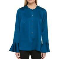 DKNY NEW Women's Teal Bell Sleeve Button Front Blouse Shirt Top TEDO