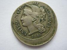 More details for united states 1865 nickel 3 cents error off centre strike