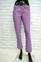 Pantalone JECKERSON Donna Taglia 30 Jeans Elastico Viola Gamba Dritta Corto