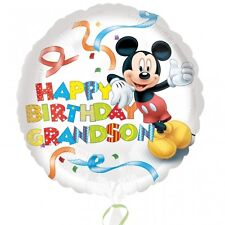 "18"" Round MICKEY MOUSE Happy Birthday GRANDSON Foil Helium BALLOON"