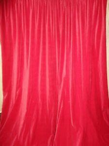 IKEA SANELA VELVET BRIGHT RED (2) UNLINED LONG DRAPERY PANELS 54 X 114