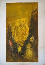 Lithographie en couleur, Abstraction moderne, artiste non identifié, signée