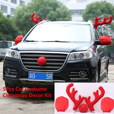 2019 New Red 2pcs Antlers+Nose+2pcs Mirror Cover Car Styling Christmas Decor Kit