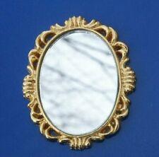 Dollhouse Miniature 1:12 Toy A Metal Golden Metal Round Mirror D4.9cm SPO709