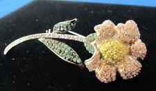14kt Sunflower Sapphire Tsavorite and Diamond Pin.