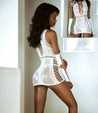 Damen Netz-Kleid Netzkleid Sexy Dessous Body Reizwäsche Kleid weiß Netz Body