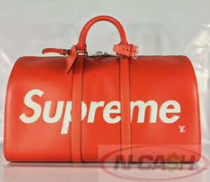 BIG SALE! BNEW AUTHENTIC LOUIS VUITTON Supreme Red Epi Keepall Bandouliere 45
