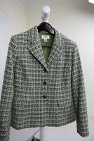 Talbots Wool & Nylon Blend Multi-Colored 3 Button Lined Blazer Size - 10