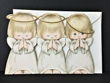 Vtg Hallmark 3 Child Angels Cutout Christmas Card Classic Design