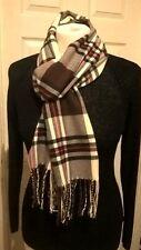 New wool cashmere blend scarf beige brown plaid check tartan luxury soft VGC