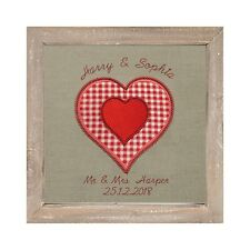 Personalised Embroidered Hearts Picture Bespoke Wedding Anniversary Gift Custom