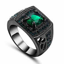 Size 6 Noble Green(Emerald) Ring Men/Women's 10KT Black Gold Filled Jewelry