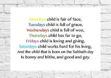 Mondays Child Is Fair Of Face - Nursery Rhyme - Inspiring Poem - A4 Size