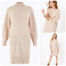M&S PER UNA Oatmeal Cotton Wool Knitted Pocket Jumper Dress. Sz Medium 12-14 NEW