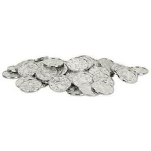 Treasure Loot Party Favor Silver Plastic Coins 100 Pack Birthday Party Decor