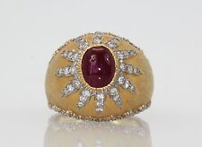 BUCCELLATI 18K TEXTURED BRUSHED YELLOW GOLD RING WITH RUBY CABOCHON 4 CARATS TCW