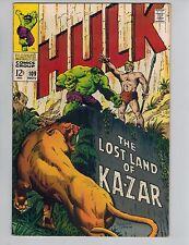 The Incredible Hulk 109 vs Ka-Zar!   1968 Marvel Comic in VF-!