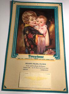 1931 Firestone Tires Calendar Sign Winsted Connecticut Flapper Girl Irene Patten