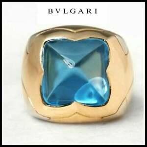 "Bvlgari 18K Two-Tone Gold 12mm X 12mm Blue Topaz ""Piramide"" Ring"