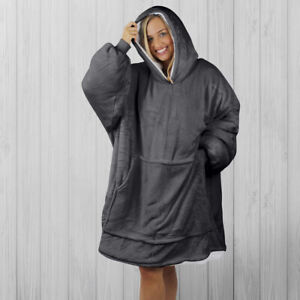 Hoodie Blanket by Snoogie Warm Double Layer 430gsm, Unisex Adult Size | Charcoal