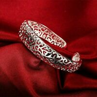 Women's Silver Plated Bezel Hollow Cuff Bangle Open Bracelet
