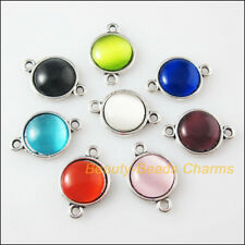 8 New Charms Tibetan Silver Cat Eye Stone Round Pendants Connector Mixed 12x18mm