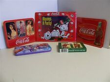 Coca-Cola Metal Signs, Collector Tin & 2 Decks Playing Cards In Tin Lot Of 5