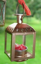 """Art-Deco-Style Lantern Rose Gold &Glass Hanging Candle Holder 4.5""""x2.5""""+Tealight"""