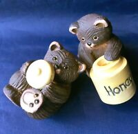 Set of 2 Artesania Rinconada Baby Bear Honey Pot & Lid Ceramic Figurines Uruguay