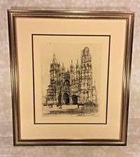 Engraving of Cathedral de Rouen w/ Blind Stamp from Louvre Museum C Armington