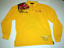 Men's Coogi Yellow Snake Embroidered Crown Long Sleeve Polo Shirt Rugby XXL 2XL
