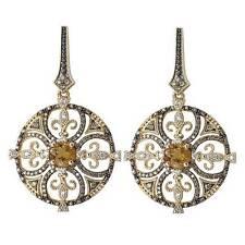 NEW 14K YELLOW GOLD COGNAC & WHITE DIAMOND HONEY QUARTZ FLEUR DE LIS EARRINGS