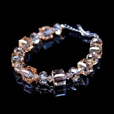 Women Yellow Champagne Square Made With Swarovski Crystals Bridal Bracelet T16