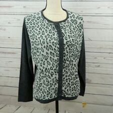 6b672a03f26 NWT Womens Cathy Daniels Cardigan Top Shirt Front Print Long Sleeve Sz L A7