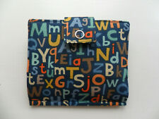 Handmade Tea Bag Wallet Blue with coloured Letters