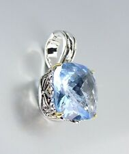 Designer Style Silver Gold Balinese Filigree Blue Topaz CZ Crystal Pendant