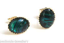 9ct Gold Abalone Paua Shell Oval Stud earrings Made in UK Gift Boxed studs
